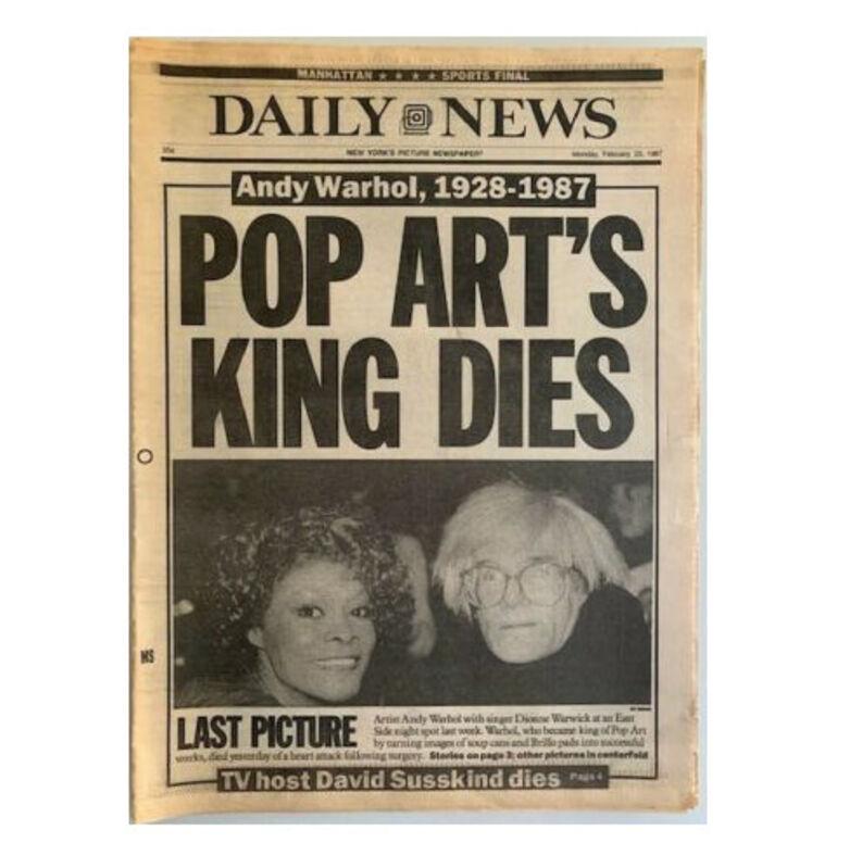 "Andy Warhol, '""Warhol, The Prince of Pop Art Dies After Operation"", NY Daily News  ', 1987, Ephemera or Merchandise, News print, VINCE fine arts/ephemera"