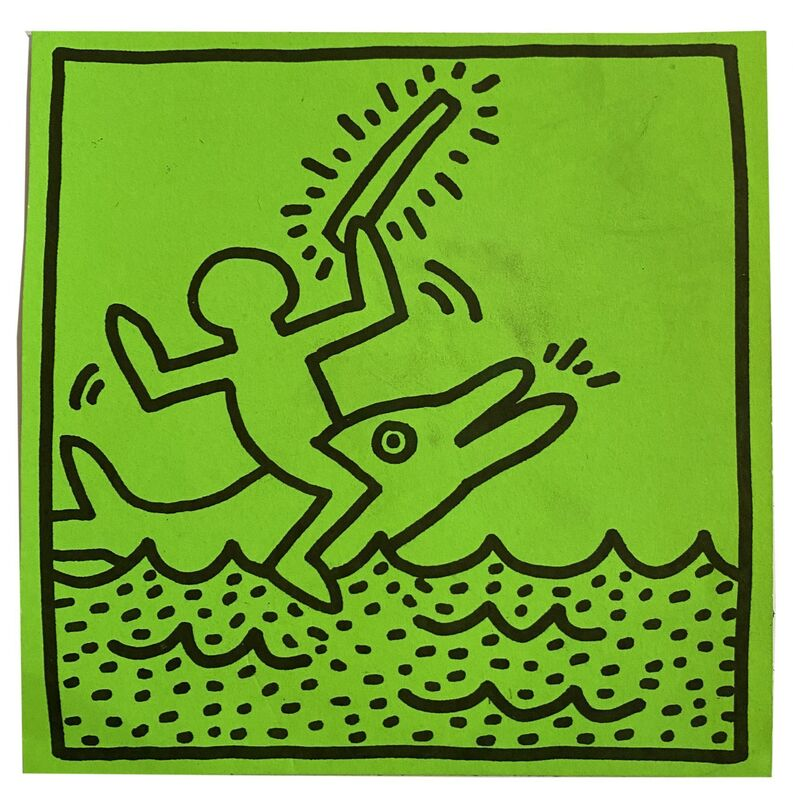 Keith Haring, 'Paper Sticker, Tony Shafrazy Gallery', 1983, Print, Screen print paper sticker, Alternate Projects