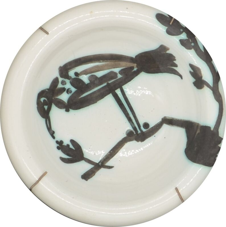 Pablo Picasso, 'Bird on a Branch ', 1952, Sculpture, Partially Glazed Terre De Faience Round Ashtray painted in black and white, Off The Wall Gallery