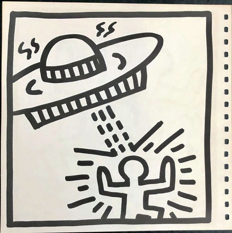 Keith Haring, 'Keith Haring (untitled) Spaceship lithograph 1982 ', 1982, Print, Offset lithograph, Lot 180