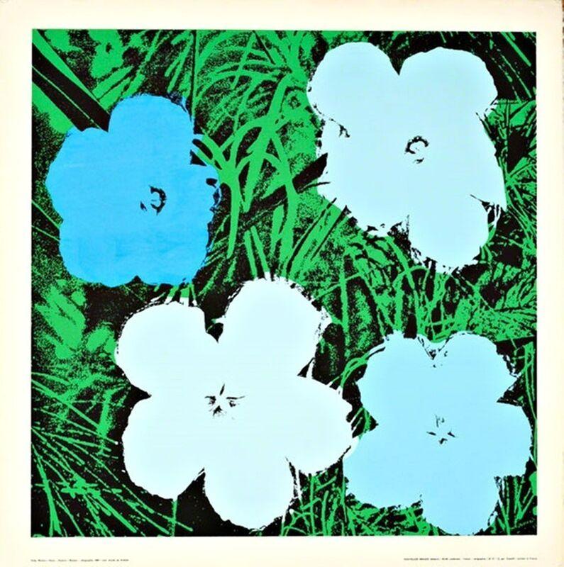 Andy Warhol, 'Flowers (Blue)', 1970, Print, Silkscreen poster on linen canvas backing. unframed., Alpha 137 Gallery Gallery Auction