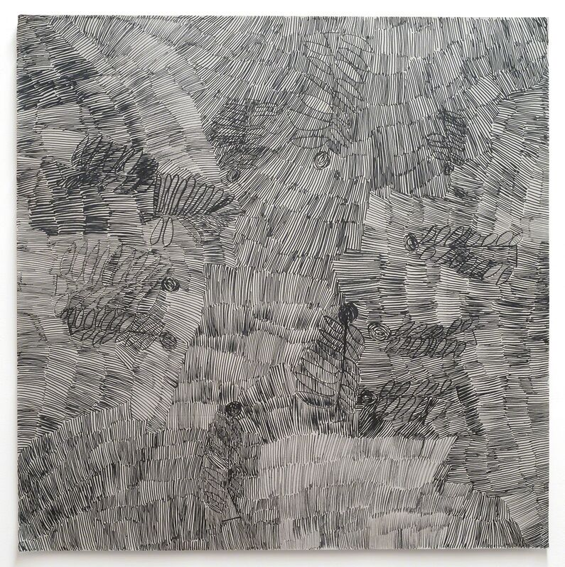 Nyapanyapa Yunupingu, 'Dharpa Malany', 2014, Drawing, Collage or other Work on Paper, Felt tip pen, earth pigments on discarded photography backdrop (paper), Roslyn Oxley9 Gallery