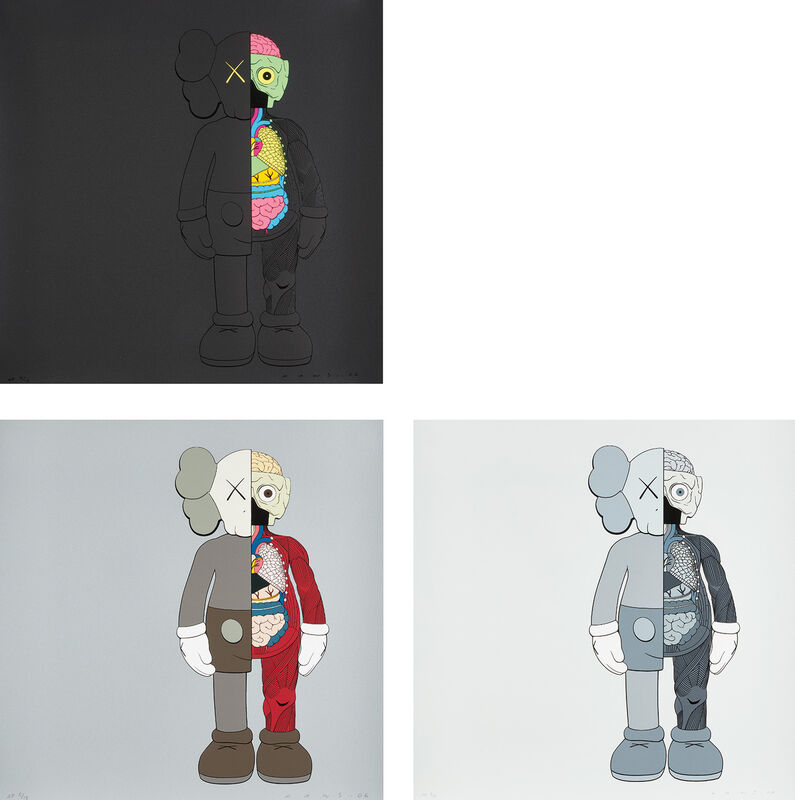 KAWS, 'DISSECTED COMPANION (BLACK), (GREY) and (BROWN)', 2006, Print, The complete set of three screenprints in colors, on wove paper, the full sheets., Phillips