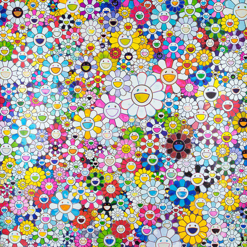 Takashi Murakami, 'When I Close My Eyes, I See Shangri-La', 2012, Print, Offset lithograph in colors with silver foil on smooth wove paper, Lougher Contemporary