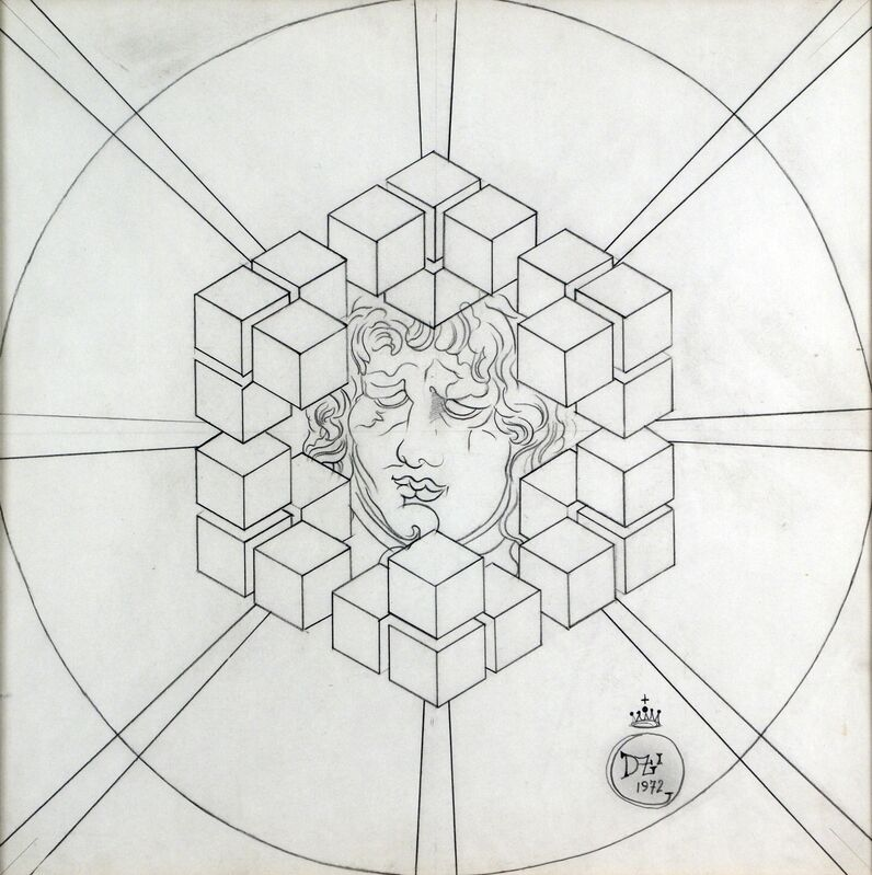 Salvador Dalí, 'Mascaron dans Des Cubes', 1972, Drawing, Collage or other Work on Paper, Pencil on paper, Omer Tiroche Gallery