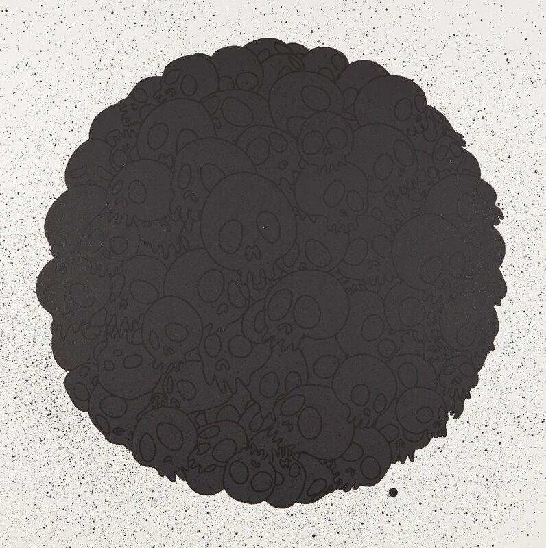 Takashi Murakami, 'Black Flowers and Skulls Round', 2020, Print, Screenprint with spraypaint on wove, Roseberys