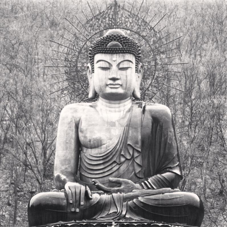 Michael Kenna, 'Sitting Buddha Statuary, Shin-Heung Temple, Gangwondo, South Korea', 2005, Photography, Sepia toned silver gelatin print, Ira Stehmann Fine Art Photography