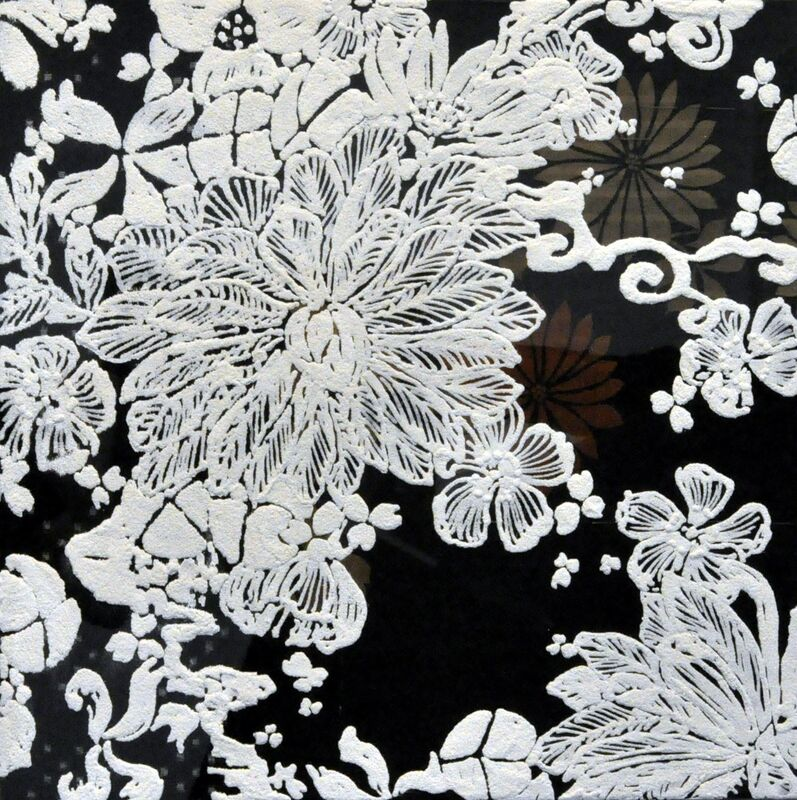 Shinji Ohmaki, 'Echoes - Crystallization Flower(black)', 2014, Painting, Correction fluid, Crystal powder, Fabric, Panel, Art Front Gallery