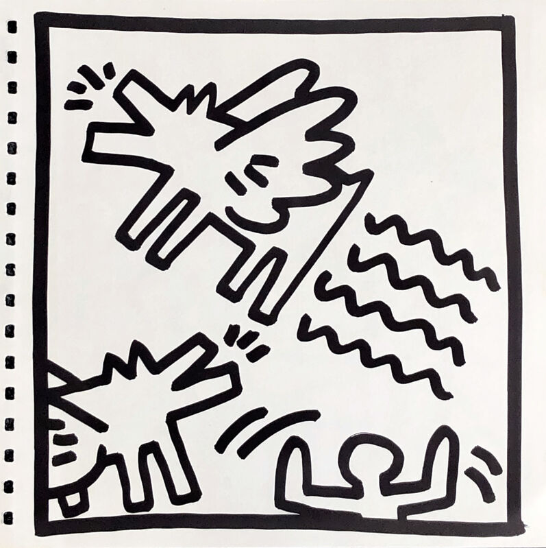 Keith Haring, 'Keith Haring (untitled) Flying Dogs lithograph 1982 ', 1982, Print, Offset lithograph, Lot 180