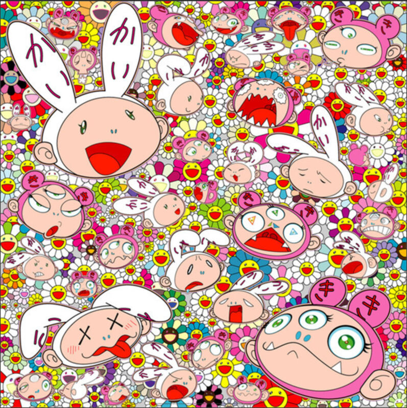 Takashi Murakami, 'There's bound to be difficult times There's bound to be sad times But we won't lose heart; we'd rather not cry, so laugh, we will!', 2017, Print, Offset Print with Silver and High Gloss Varnishing, Curator Style