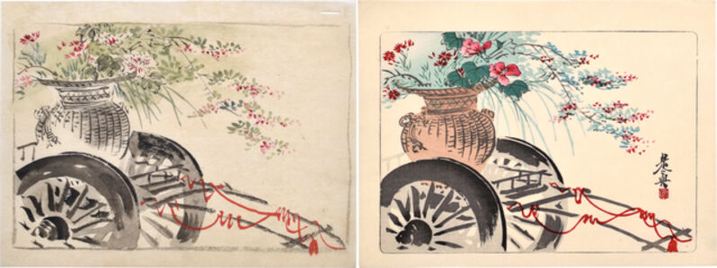 Shibata Zeshin, 'Watercolor and print related to Flower Cart from the series 'A Comparison of Flowers'', ca. 1875-90