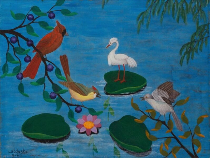 Lawrence Lebduska, 'Birds in Pond', 1960