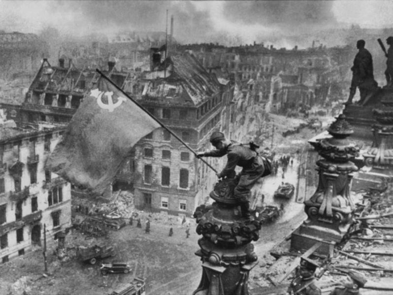 Yevgeny Khaldei, 'Banner of Victory Over Reichstag, Berlin', 1945