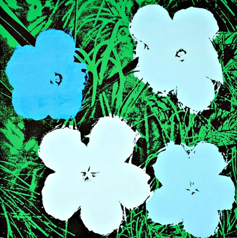 Andy Warhol, 'Blue and White Flowers ', ca. 1970, Posters, Silkscreen on heavy canson watercolor paper with full margins on linen canvas backing. Unframed., Alpha 137 Gallery