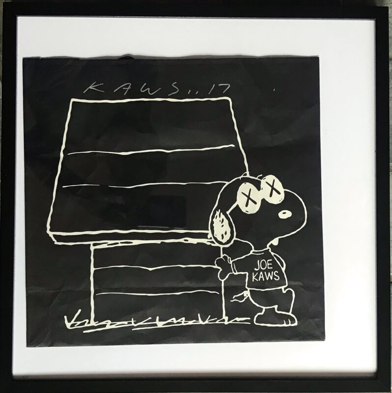 KAWS, 'Original bag from KAWSxPeanutsxUniqlo Collection (Hand Signed)', 2017, Print, Offset lithograph on shopping bag. Hand signed. Framed., Alpha 137 Gallery