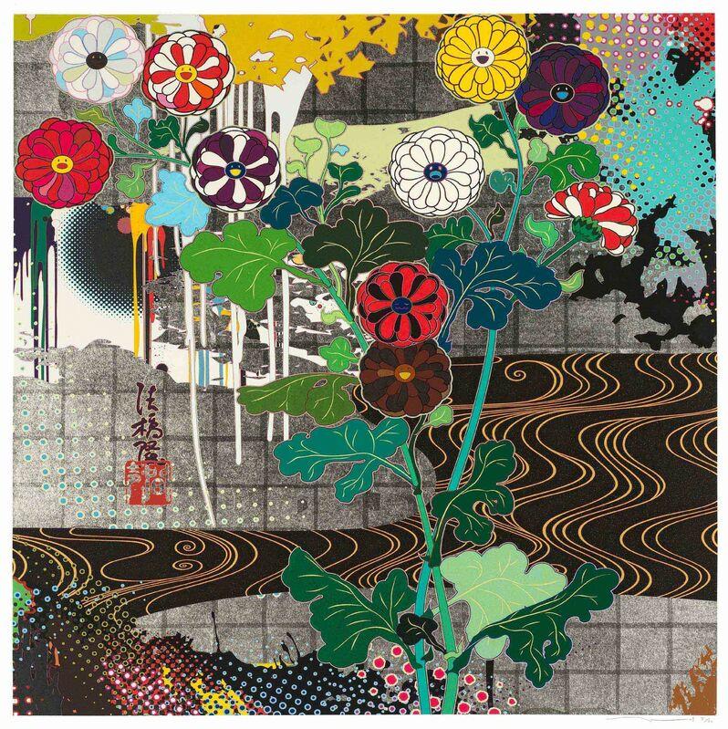 Takashi Murakami, 'Kansei Platinum', Print, Silkscreen with platinum leaf, Strauss & Co