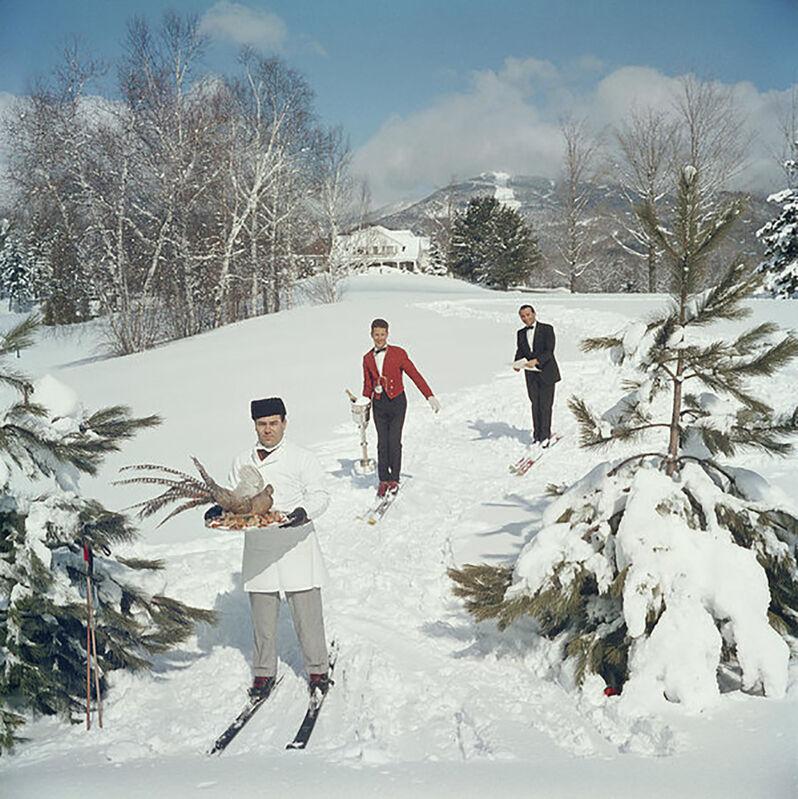 Slim Aarons, 'Skiing Waiters', 1960, Photography, C-print, Provocateur Gallery