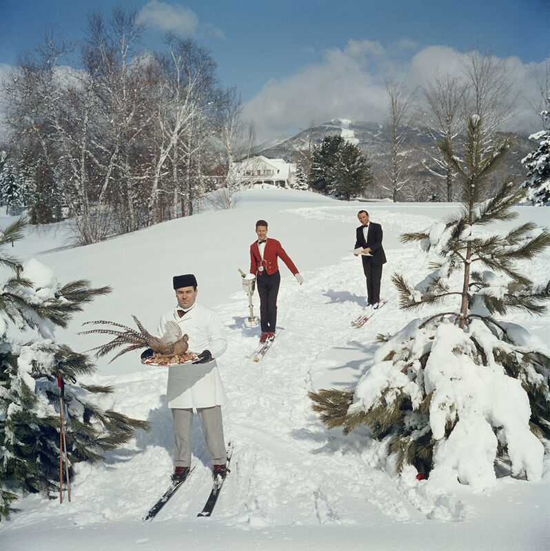 Slim Aarons, 'Skiing Waiters, Stowe, Vermont', 1962, Photography, C-Print, Staley-Wise Gallery