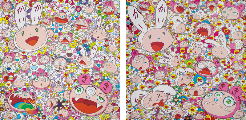 Takashi Murakami, 'Fortune Favors the Merry Home! Kaikai and Kiki; and There's bound to be difficult times There's bound to be sad times But we won't lose heart; we'd rather not cry, so laugh, we will!', 2017, Print, Two offset lithographs in colours with sticker additions, on smooth wove paper, the full sheets., Phillips