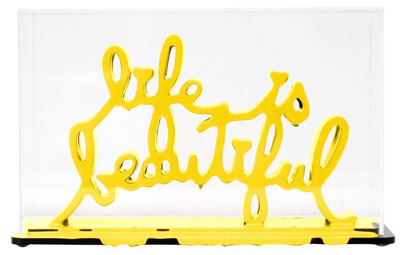 Mr. Brainwash, 'Life Is Beautiful - Dipped Yellow', 2020, Sculpture, Acrylic dipped cast resin sculpture in plexiglass enclosure, Taglialatella Galleries