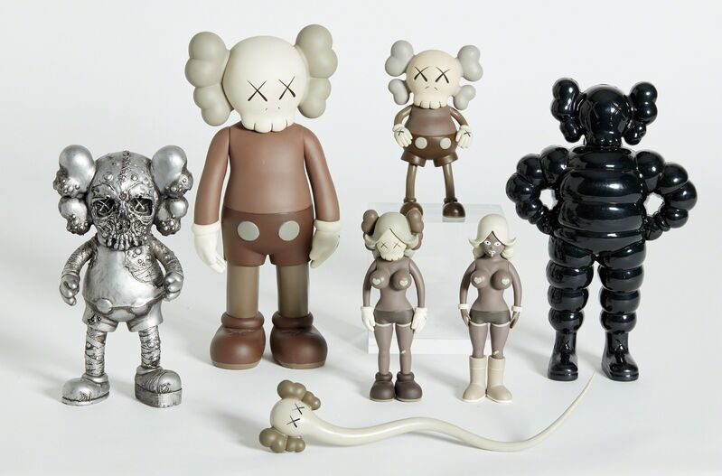 KAWS, 'Six Works: (Real) Companion; CHUM; Bendy; Companion (Five Years Later); PUSHEAD; and THE TWINS', 1999-2006, Design/Decorative Art, Seven figures, including five cast and painted soft vinyl multiples and two plastic, painted multiples, six contained in their original cardboard or Plexiglas boxes, Phillips