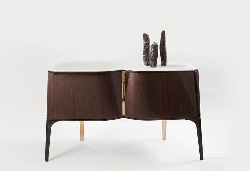 "Aldus, '""Dolmen,"" Marble and gilt Bronze Candlestick', 2014, Design/Decorative Art, Rosso Levanto marble, gilt-bronze, Maison Gerard"