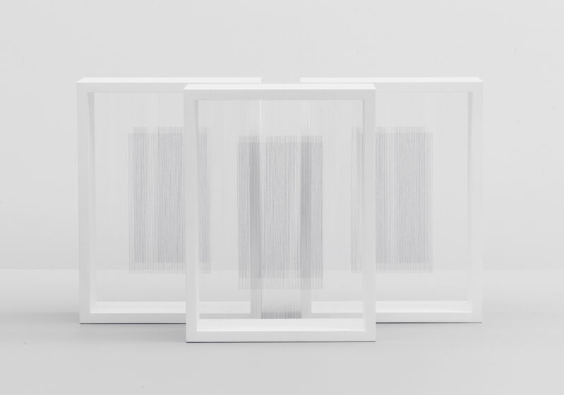 Hadi Tabatabai, 'Triptych: One white rose to another one', 2019, Sculpture, Thread, acrylic paint, and ABS on wood, Bartha Contemporary