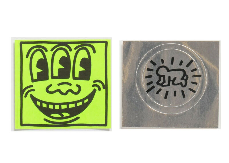 """Keith Haring, '2 PIECE SET,  POP SHOP STICKERS-  1.) """"Three Eyed Smiling"""", 1980's, POP Shop Sticker (unused), 2.)""""Silver Baby"""", 1980's, POP Shop Sticker (unused)', 1980's, Ephemera or Merchandise, Lithograph on paper, VINCE fine arts/ephemera"""