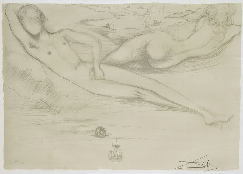 Salvador Dalí, 'A la Plage from the Nudes Suite', 1970, Print, Lithograph on Rives, signed and numbered in pencil, RoGallery