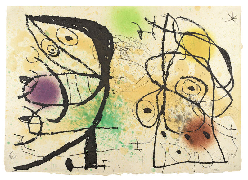 Joan Miró, 'Le Courtisan Grotesque: Plate III', 1974, Print, Etching with aquatint printed in colours, 1974., Sims Reed Gallery