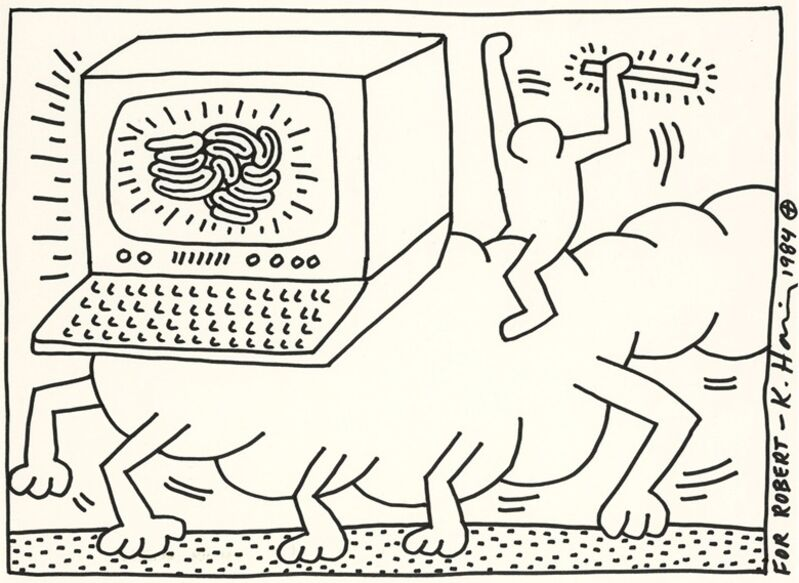 Keith Haring, 'Untitled', 1984, Drawing, Collage or other Work on Paper, Felt-tip pen on board, Gerald Hartinger Fine Arts