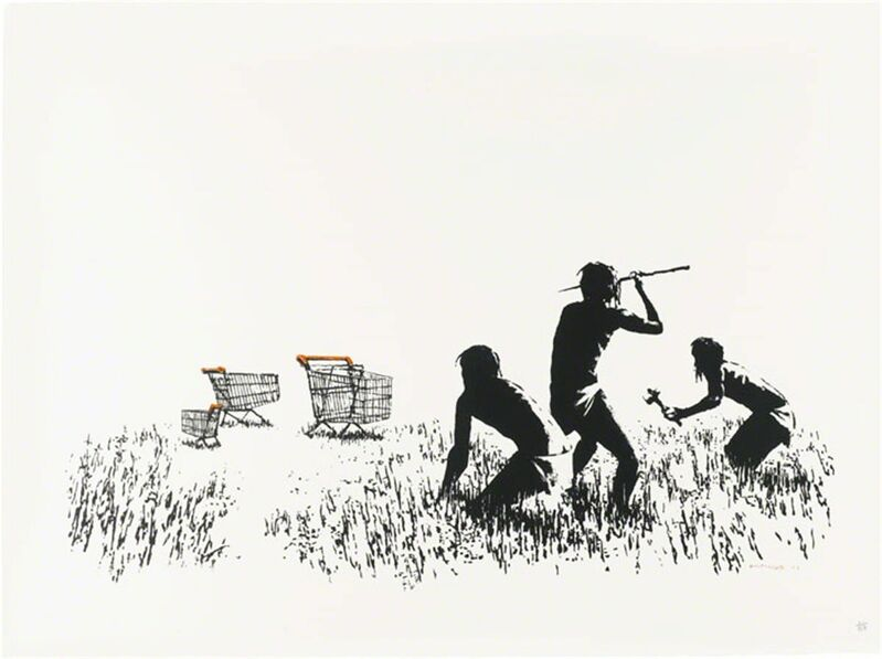 Banksy, 'Trolleys (Black and White) - Signed', 2007, Print, Screen print on paper, Hang-Up Gallery