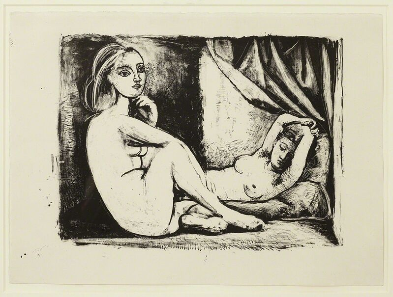 Pablo Picasso, 'Les Deux Femmes nues, State 3 (ii), November 1945', 1945, Print, Wash drawing, pen and scraper on stone, Cristea Roberts Gallery