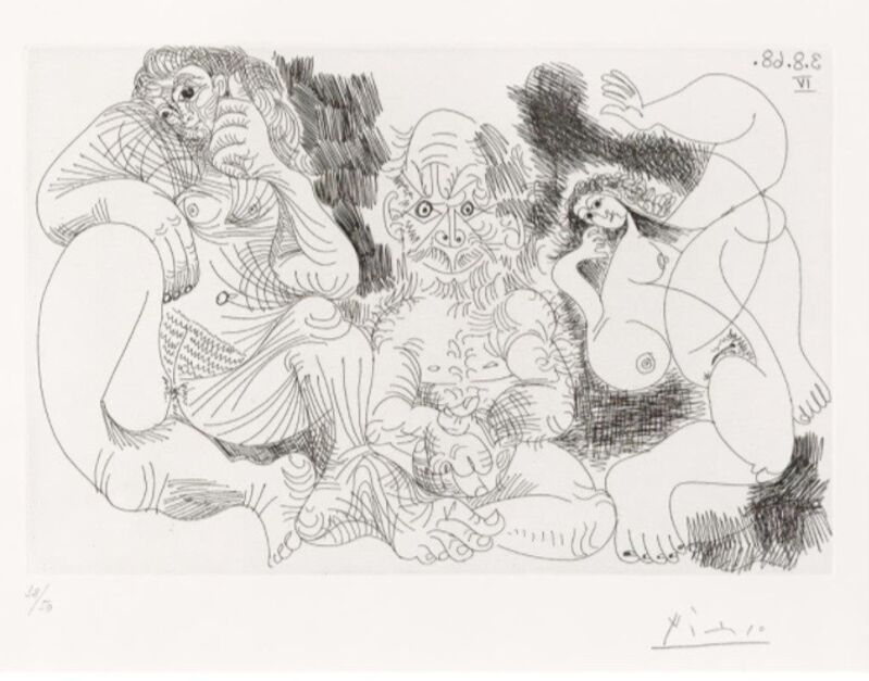 Pablo Picasso, 'Vieillard Assis Avec Une Femme et Danseuse', 1968, Drawing, Collage or other Work on Paper, Etching on Wove paper, ArtLife Gallery