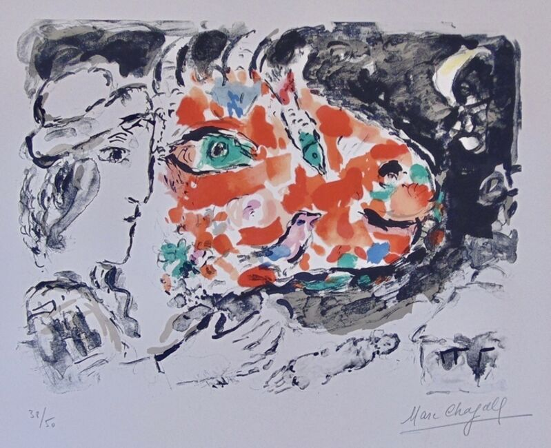 Marc Chagall, 'After Winter, from: Beyond the Mirror', 1972, Print, Color Lithograph on Arches Woven Paper, Thou Art