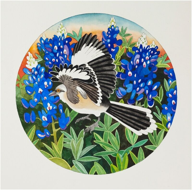 Billy Hassell, 'Mockingbird and Bluebonnets', 2014, Drawing, Collage or other Work on Paper, Watercolor on paper, William Campbell Contemporary Art Inc