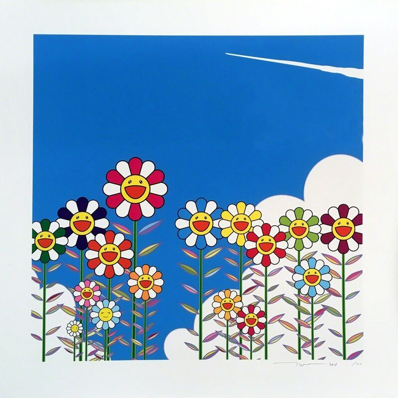 Takashi Murakami, 'Vapor Trail in the Blue Summer Sky', 2018, Print, Lithograph (Hand pulled), Lougher Contemporary