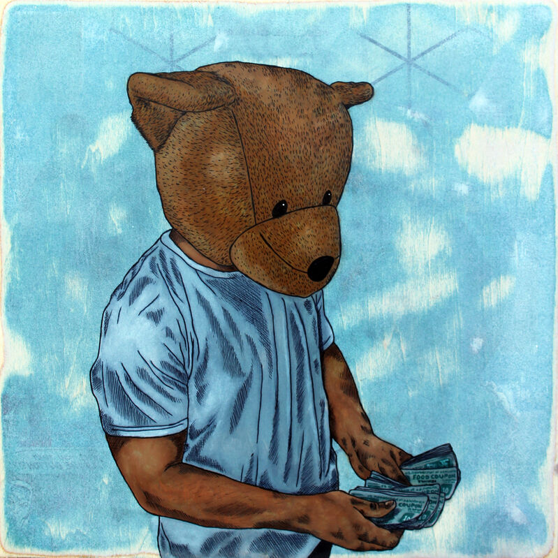 Sean 9 Lugo, 'Ballin', 2018, Painting, Watercolor, ink, and paper on panel, Deep Space Gallery