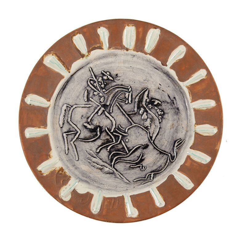 Pablo Picasso, 'Scène de tauromachie (A.R.410)', 1959, Design/Decorative Art, White earthenware, decor with engobes partially glazed with ivory white, patinated black, and mat red, HELENE BAILLY GALLERY