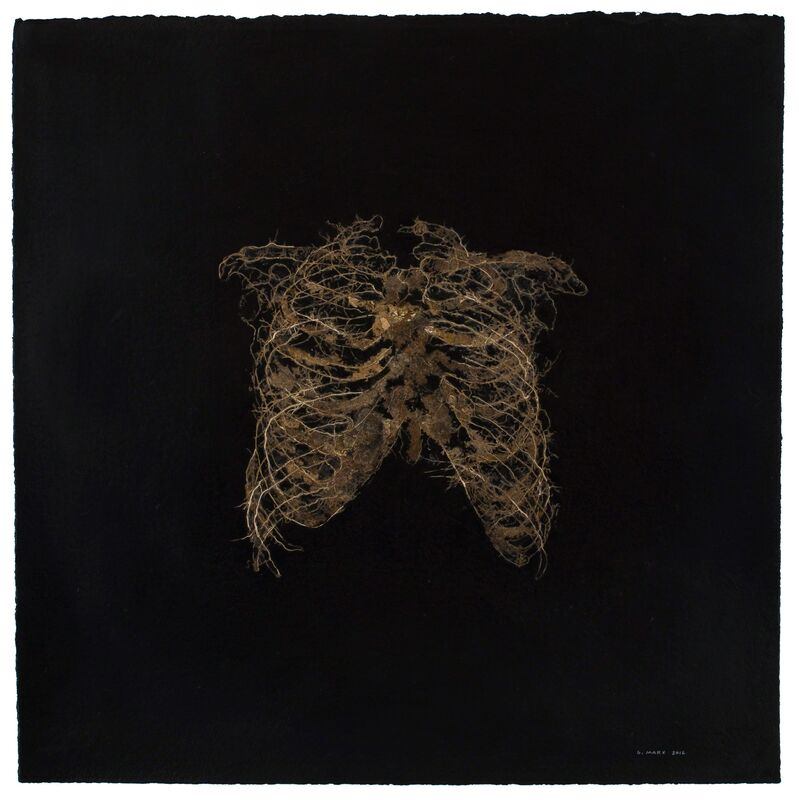 Gerhard Marx, 'Small Ribcage', 2012, Drawing, Collage or other Work on Paper, Plant material, acrylic paint and glue on cotton paper, Goodman Gallery