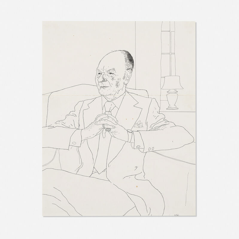 David Hockney, 'Sir John Gielgud', 1974, Drawing, Collage or other Work on Paper, Ink on two joined sheets of paper, Rago/Wright