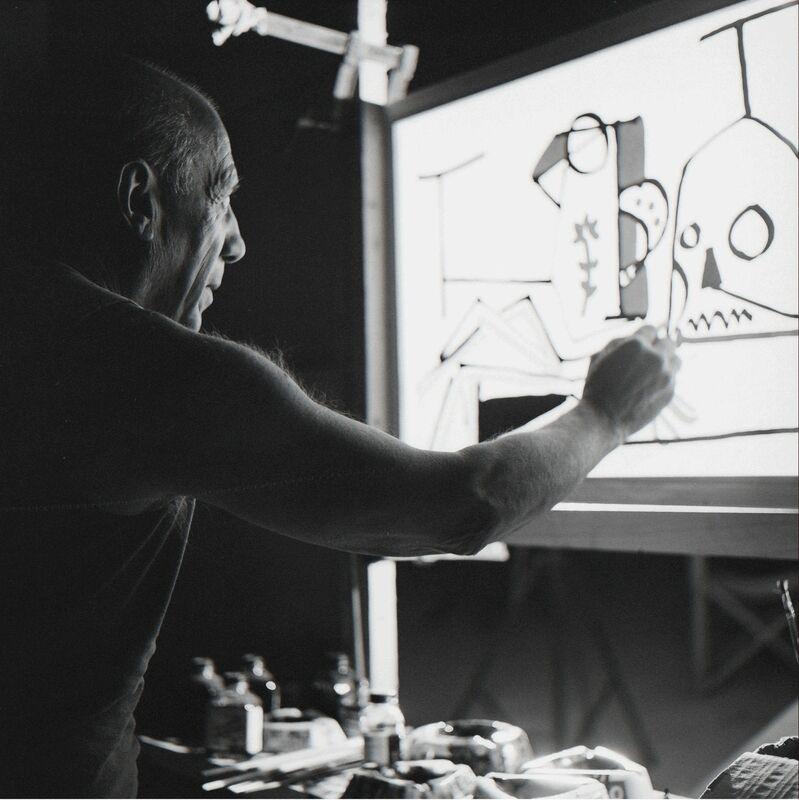 Edward Quinn, 'Picasso on set, Le mystère Picasso, Studios de la Victorine, Nice, France', 1955, Photography, Modern gelatin silver print from original negative, Gagosian