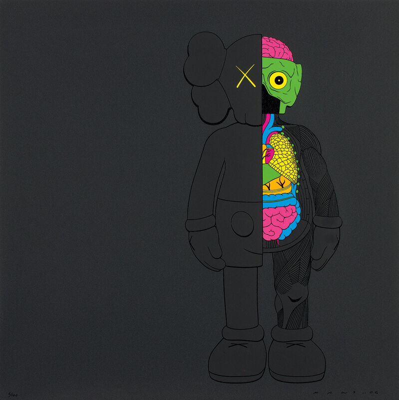 KAWS, 'DISSECTED COMPANION (BLACK)', 2006, Print, Screenprint in colors, on wove paper, the full sheet., Phillips