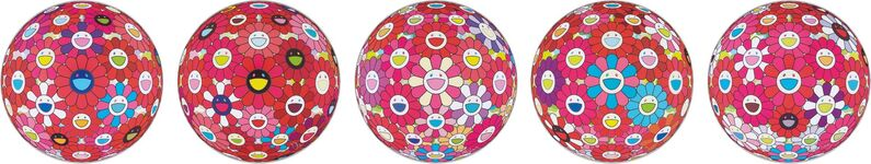 Takashi Murakami, 'Flower Ball (3D)-Turn Red!; Hey! You! Do You Feel What I Feel?; Flower Ball (3D) - Blue, Red; Letter to Picasso; Groping for the Truth', 2013-2014, Print, Five offset lithographs in colors, on smooth wove paper, the full sheets, Phillips