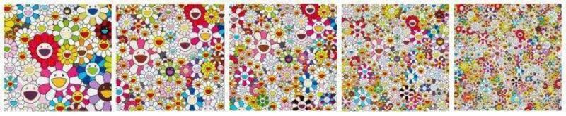 Takashi Murakami, 'Flowers Blooming in This World and the and of Nirvana', 2013, Print, Five offset lithograph in colours on wove, Roseberys