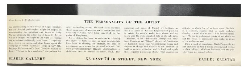 """Andy Warhol, '""""The  Personality of an Artist"""", Art Magazine Exhibition Advertisement, Stable Gallery NYC, """"The Personality of the Artist"""", RARE', 1964, Ephemera or Merchandise, Print on paper, VINCE fine arts/ephemera"""