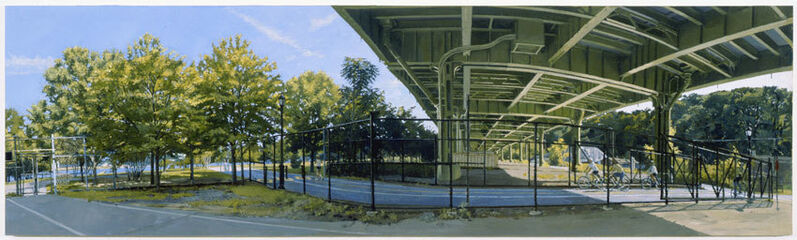 Rackstraw Downes, 'Under the Westside Highway at 145th Street: The Bike Path No. 1', 2009, Painting, Oil on canvas, Betty Cuningham