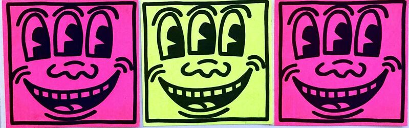 Keith Haring, 'Keith Haring Three Eyed Smiling Face (Set of 3 early 1980s Haring stickers)', ca. 1982, Ephemera or Merchandise, Offset printed adhesive sticker, Lot 180