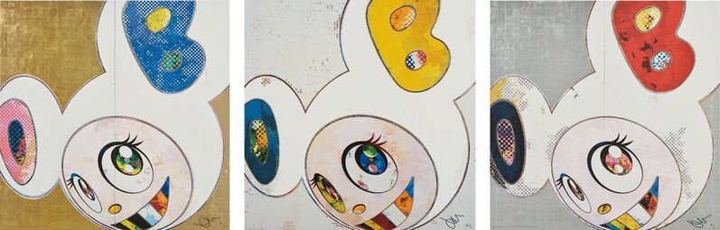 Takashi Murakami, 'And then x 6 (White: The Superflat Method. Blue and Yellow Ears); DOB in Pure White Robe (Navy & Vermillion); and DOB in Pure White Robe (Pink & Blue)', 2013, Print, Three offset lithographs in colors, on smooth wove paper, the full sheets, Phillips