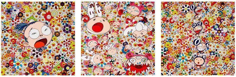 Takashi Murakami, 'New Day (framed set of 3)', 2011, Print, Offset lithograph, EHC Fine Art